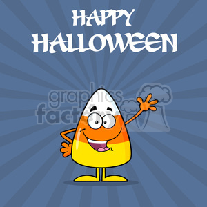 8875 Royalty Free RF Clipart Illustration Funny Candy Corn Cartoon Character Waving Vector Illustration With Background And Text