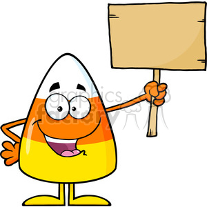 8879 Royalty Free RF Clipart Illustration Funny Candy Corn Cartoon Character Holding A Wooden Board Vector Illustration Isolated On White