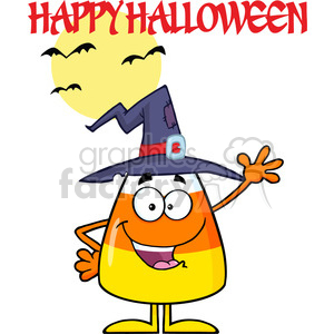 8887 Royalty Free RF Clipart Illustration Happy Candy Corn Cartoon Character With A Witch Hat Waving Vector Illustration Isolated On White And Text