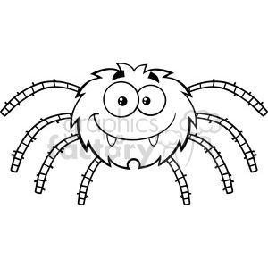 8950 Royalty Free RF Clipart Illustration Black And White Funny Spider Cartoon Character Vector Illustration Isolated On White clipart. Commercial use image # 396231