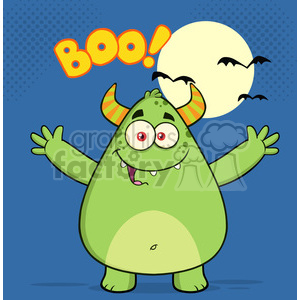 8933 Royalty Free RF Clipart Illustration Happy Horned Green Monster Cartoon Character With Welcoming Open Arms And Boo Text Vector Illustration clipart. Commercial use image # 396241