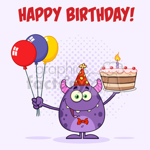 8915 royalty free rf clipart illustration cute monster holding up a colorful balloons and birthday cake vector illustration greeting card