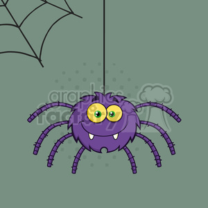 8954 Royalty Free RF Clipart Illustration Smiling Purple Halloween Spider Cartoon Character On A Web With Text Vector Illustration With Background
