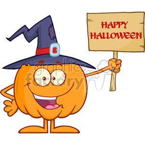 8896 Royalty Free RF Clipart Illustration Happy Witch Pumpkin Cartoon Character Holding Up A Blank Wood Sign With Text Vector Illustration Isolated On White clipart. Commercial use image # 396271