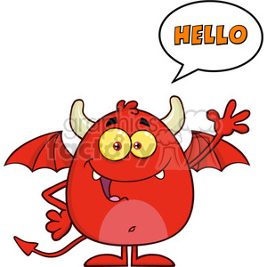 8960 Royalty Free RF Clipart Illustration Smiling Red Devil Cartoon Character Waving And Saying Hello Vector Illustration Isolated On White clipart. Royalty-free image # 396281