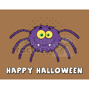 8952 Royalty Free RF Clipart Illustration Funny Spider Cartoon Character Vector Illustration With Background And Text