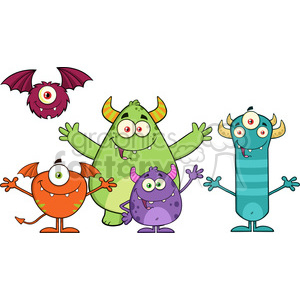 8937 Royalty Free RF Clipart Illustration Happy Funny Monsters Cartoon Characters Vector Illustration Isolated On White