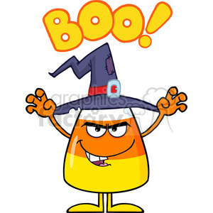 8882 Royalty Free RF Clipart Illustration Scaring Halloween Candy Corn With A Witch Hat And Text Vector Illustration Isolated On White clipart. Commercial use image # 396311