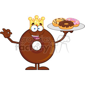 8723 Royalty Free RF Clipart Illustration King Chocolate Donut Cartoon Character Serving Donuts Vector Illustration Isolated On White
