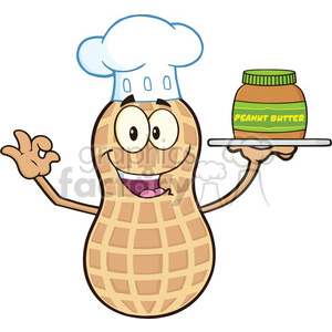 8744 Royalty Free RF Clipart Illustration Chef Peanut Cartoon Mascot Character Holding A Jar Of Peanut Butter Vector Illustration Isolated On White clipart. Royalty-free image # 396371