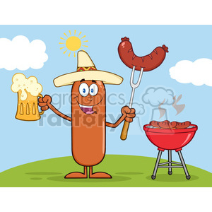 8473 Royalty Free RF Clipart Illustration Happy Mexican Sausage Cartoon Character Holding A Beer And Weenie Next To BBQ Vector Illustration Isolated On White clipart. Royalty-free image # 396375
