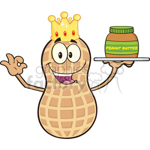 8742 Royalty Free RF Clipart Illustration King Peanut Cartoon Mascot Character Holding A Jar Of Peanut Butter Vector Illustration Isolated On White clipart. Royalty-free image # 396387