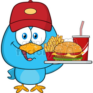 8827 Royalty Free RF Clipart Illustration Cute Blue Bird Cartoon Character Holding A Platter With Burger, French Fries And A Soda Vector Illustration Isolated On White