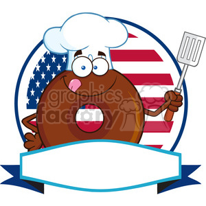 8713 Royalty Free RF Clipart Illustration Chocolate Chef Donut Cartoon Character Over A Circle Blank Label In Front Of Flag Of USA Vector Illustration Isolated On White clipart. Commercial use image # 396411