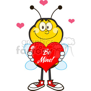 8381 Royalty Free RF Clipart Illustration Smiling Bee Cartoon Mascot Character Holding Up A Red Heart With Text Vector Illustration Isolated On White clipart. Royalty-free image # 396425