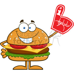8574 Royalty Free RF Clipart Illustration Smiling Hamburger Cartoon Character Showing A Number 1 Foam Finger Vector Illustration Isolated On White clipart. Royalty-free image # 396437
