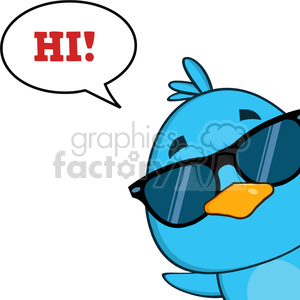 8816 Royalty Free RF Clipart Illustration Cute Blue Bird With Sunglasses Cartoon Character Looking From A Corner With Speech Bubble And Text Vector Illustration Isolated On White