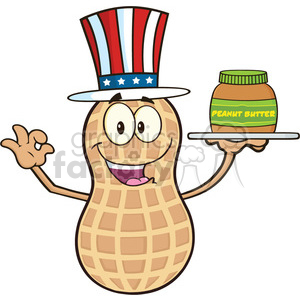 8743 Royalty Free RF Clipart Illustration American Peanut Cartoon Mascot Character Holding A Jar Of Peanut Butter Vector Illustration Isolated On White clipart. Royalty-free image # 396489
