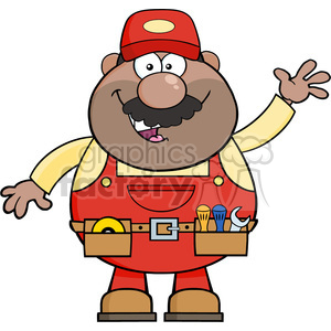 8525 Royalty Free RF Clipart Illustration Smiling African American Mechanic Cartoon Character Waving For Greeting Vector Illustration Isolated On White clipart. Commercial use image # 396493