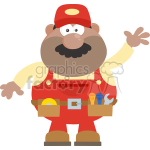 8531 Royalty Free RF Clipart Illustration African American Mechanic Cartoon Character Waving For Greeting Flat Style Vector Illustration Isolated On White clipart. Commercial use image # 396523