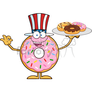8684 Royalty Free RF Clipart Illustration American Donut Cartoon Character Serving Donuts Vector Illustration Isolated On White clipart. Royalty-free image # 396559