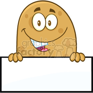 8784 royalty free rf clipart illustration smiling potato cartoon character over a blank sign vector illustration isolated on white