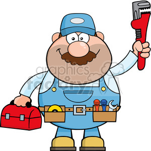 8535 Royalty Free RF Clipart Illustration Mechanic Cartoon Character With Wrench And Tool Box Vector Illustration Isolated On White clipart. Royalty-free image # 396623
