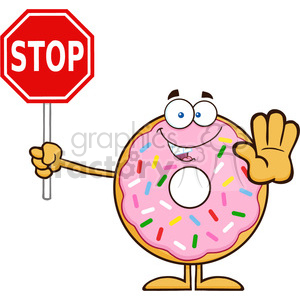 8668 Royalty Free RF Clipart Illustration Smiling Donut Cartoon Character With Sprinkles Holding A Stop Sign Vector Illustration Isolated On White clipart. Royalty-free image # 396637
