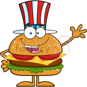 8581 Royalty Free RF Clipart Illustration American Hamburger Cartoon Character With Patriotic Hat Waving Vector Illustration Isolated On White clipart. Commercial use image # 396653