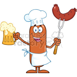 8444 Royalty Free RF Clipart Illustration Happy Chef Sausage Cartoon Character Holding A Beer And Weenie On A Fork Vector Illustration Isolated On White clipart. Commercial use image # 396691