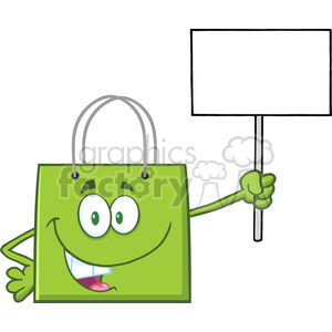 8763 Royalty Free RF Clipart Illustration Green Shopping Bag Cartoon Character Holding Up A Blank Sign Vector Illustration Isolated On White clipart. Royalty-free image # 396731