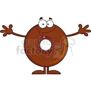 8717 Royalty Free RF Clipart Illustration Chocolate Donut Cartoon Character Wanting A Hug Vector Illustration Isolated On White clipart. Royalty-free image # 396755