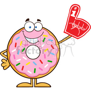 8679 Royalty Free RF Clipart Illustration Smiling Donut Cartoon Character With Sprinkles Wearing A Foam Finger Vector Illustration Isolated On White clipart. Commercial use image # 396771