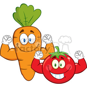 8401 Royalty Free RF Clipart Illustration Carrot And Tomato Cartoon Mascot Characters Showing Muscle Arms Vector Illustration Isolated On White clipart. Royalty-free image # 396787