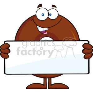 8714 Royalty Free RF Clipart Illustration Chocolate Donut Cartoon Character Holding A Blank Sign Vector Illustration Isolated On White