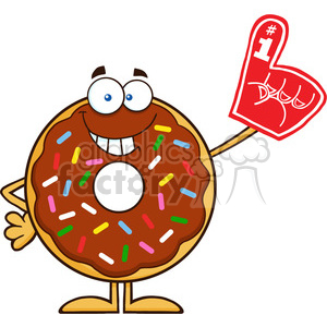 8699 Royalty Free RF Clipart Illustration Smiling Chocolate Donut Cartoon Character With Sprinkles Wearing A Foam Finger Vector Illustration Isolated On White clipart. Commercial use image # 396811