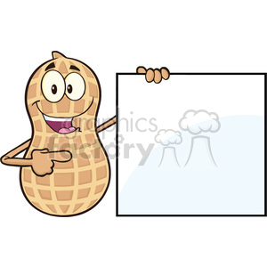 8733 Royalty Free RF Clipart Illustration Peanut Cartoon Mascot Character Showing A Blank Sign Vector Illustration Isolated On White