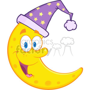 Royalty Free RF Clipart Illustration Smiling Cute Moon With Sleeping Hat Cartoon Mascot Character clipart. Commercial use image # 396871