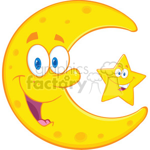 Royalty Free RF Clipart Illustration Smiling Crescent Moon And Happy Litlle Star Cartoon Characters clipart. Royalty-free image # 396881