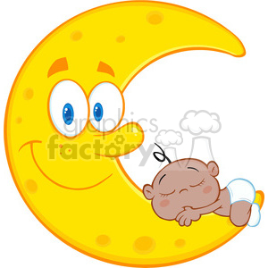 Royalty Free RF Clipart Illustration Cute African American Baby Boy Sleeps On The Smiling Moon Cartoon Characters clipart. Commercial use image # 396901