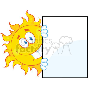 7038 Royalty Free RF Clipart Illustration Smiling Sun Looking Around A Sign Cartoon Mascot Character clipart. Royalty-free image # 396911