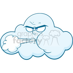 Royalty Free RF Clipart Illustration Cloud With Face Blowing Wind Cartoon Mascot Character clipart. Royalty-free image # 396921