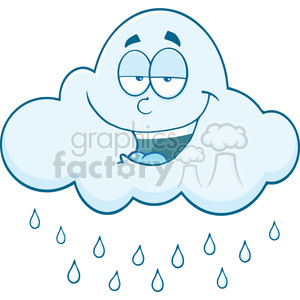 Royalty Free RF Clipart Illustration Smiling Cloud Raining Cartoon Mascot Character clipart. Royalty-free image # 396931