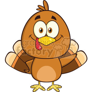 8973 Royalty Free RF Clipart Illustration Cute Turkey Bird Cartoon Character Waving Vector Illustration Isolated On White