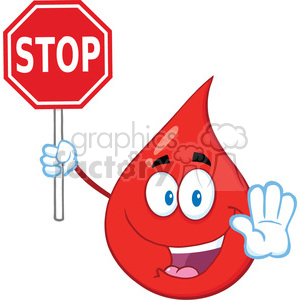 Royalty Free RF Clipart Illustration Red Blood Drop Cartoon Mascot Character Holding A Stop Sign