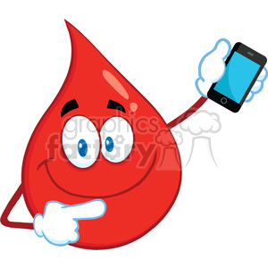 Royalty Free RF Clipart Illustration Smiling Red Blood Drop Cartoon Mascot Character Pointing To A Mobile Phone clipart. Royalty-free image # 396987