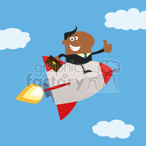 8343 Royalty Free RF Clipart Illustration African American Manager Flying In The Sky And Giving Thumb Up Flat Style Vector Illustration