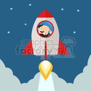 8331 Royalty Free RF Clipart Illustration Manager Launching A Rocket To The Sky And Giving Thumb Up Flat Style Vector Illustration