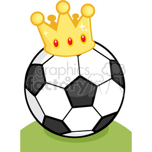 Royalty Free RF Clipart Illustration Soccer Ball With Gold Crown On Grass background. Commercial use background # 397047