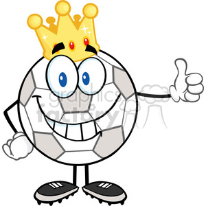Royalty Free RF Clipart Illustration Smiling Soccer Ball With Golden Crown Giving A Thumb Up clipart. Royalty-free image # 397067